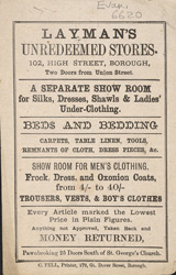 Advertisement for Layman's Unredeemed Stores